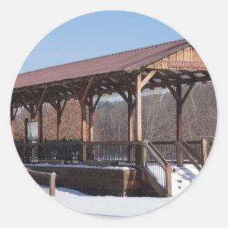 Snowcovered Hawley Train Station Classic Round Sticker