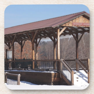 Snowcovered Hawley Train Station Drink Coasters