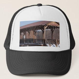 Snowcovered Hawley Train Station Trucker Hat