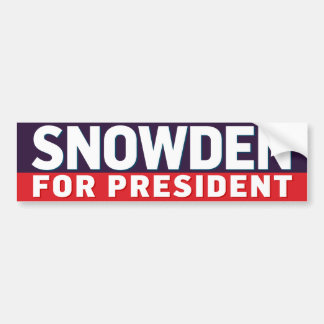 Snowden para el presidente pegatina para auto