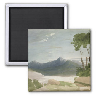 Snowdon (w/c with pencil) 2 inch square magnet