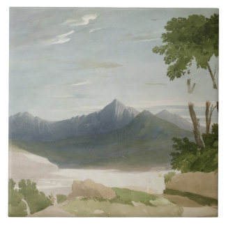 Snowdon (w/c with pencil) ceramic tile
