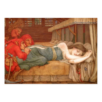 Snowdrop Asleep in Dwarfs Cottage Large Business Cards (Pack Of 100)