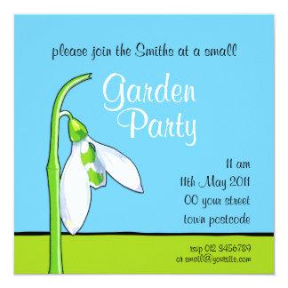 Snowdrop blue green Garden Party Invitation