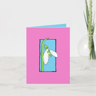 Snowdrop blue pink Note Card card