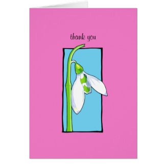 Snowdrop blue pink Thank You Note Card card