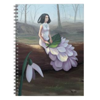 Snowdrop - Fantasy Girl in Dress Sitting in Forest Spiral Notebook