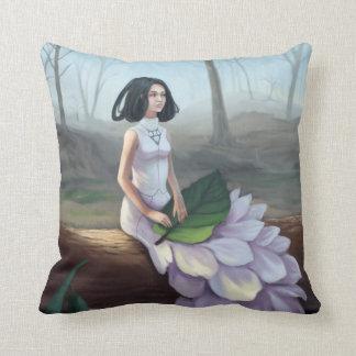 Snowdrop - Fantasy Girl Sitting on Tree Log Throw Pillow