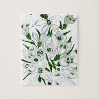 Snowdrop Flowers Painting 2 Jigsaw Puzzle