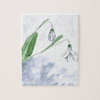 Snowdrop Flowers Painting 3 Jigsaw Puzzle
