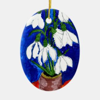 Snowdrop Flowers Painting Ceramic Ornament