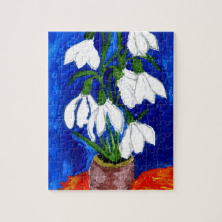 Snowdrop Flowers Painting Jigsaw Puzzle