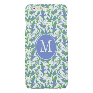 Snowdrop Flowers Pattern Monogrammed on Soft Blue Glossy iPhone 6 Case