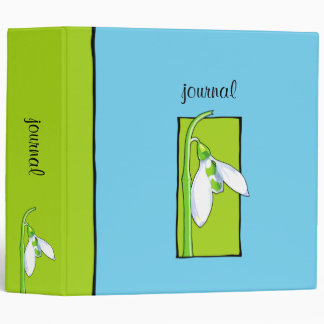 Snowdrop green blue Garden Journal Binder