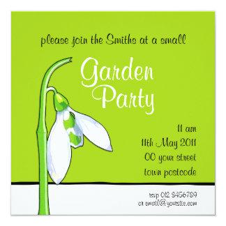 Snowdrop green Garden Party Invitation