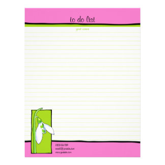 Snowdrop green pink To Do List Letterhead