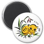 Snowdrop Kitty 2 Inch Round Magnet
