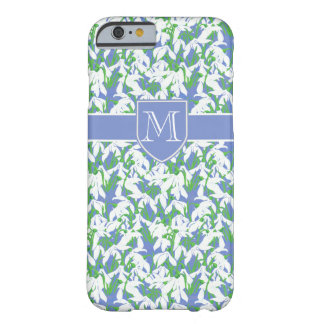 Snowdrop Pattern on Soft Blue with Monogram Barely There iPhone 6 Case