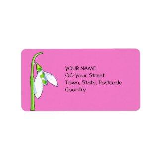 Snowdrop pink Address Label label