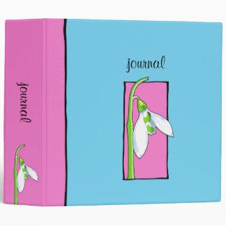 Snowdrop pink blue Garden Journal Binder
