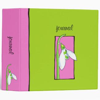 Snowdrop pink green Garden Journal Binder
