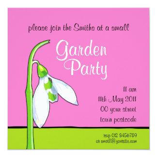 Snowdrop pink green Garden Party Invitation