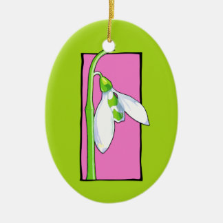 Snowdrop pink green Ornament
