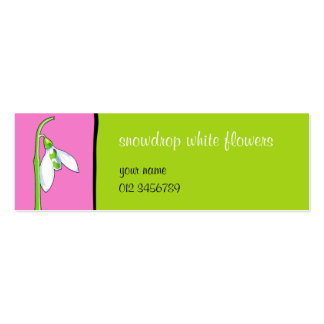 Snowdrop pink green small Business Card