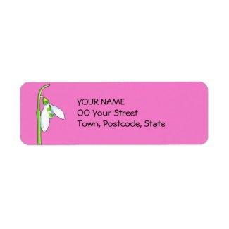 Snowdrop pink Return Address Label label