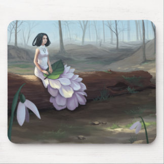 Snowdrop - Pretty Girl in White Dress in Forest Mouse Pad