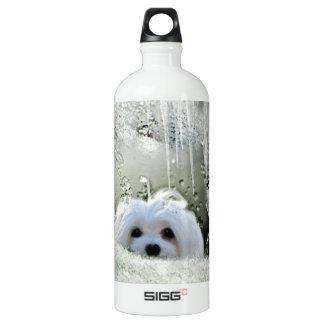Snowdrop the Maltese Aluminum Water Bottle
