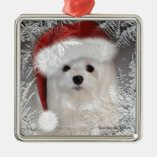 Snowdrop the Maltese Christmas Ornament