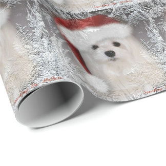 Snowdrop the Maltese Christmas Wrapping Paper