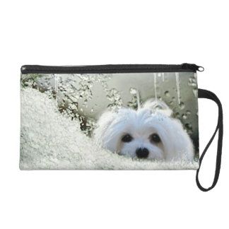 Snowdrop the Maltese Clutch Bag/Purse Wristlets