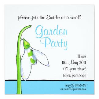 Snowdrop white blue Garden Party Invitation