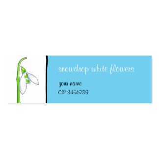 Snowdrop white blue small Business Card