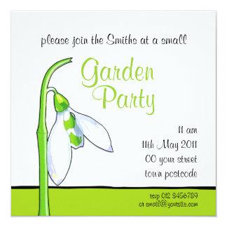 Snowdrop white green Garden Party Invitation