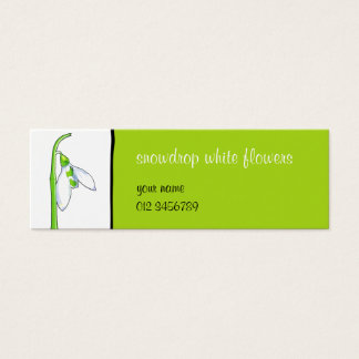 Snowdrop white green small Business Card