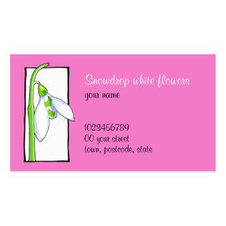 Snowdrop white pink Florist Business Card