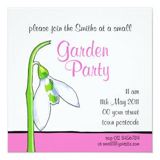 Snowdrop white pink Garden Party Invitation