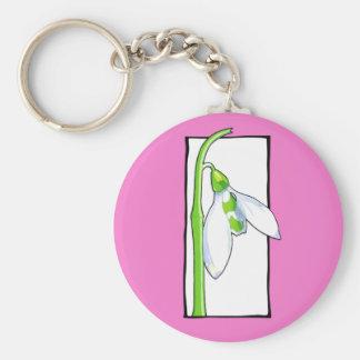 Snowdrop white pink Keychain