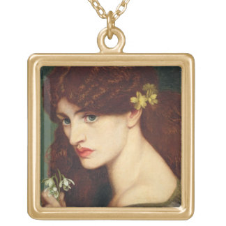 Snowdrops, 1873 (oil on canvas) gold plated necklace