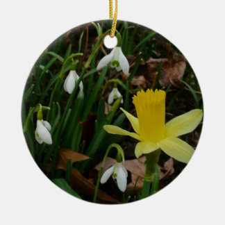 Snowdrops and Early Daffodils Spring Flowers Double-Sided Ceramic Round Christmas Ornament