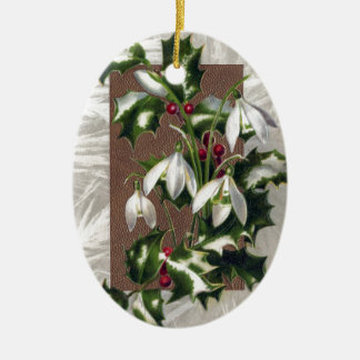 Snowdrops and Holly Vintage Christmas Ceramic Ornament