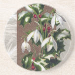 Snowdrops and Holly Vintage Christmas Drink Coaster