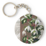Snowdrops and Holly Vintage Christmas Keychains