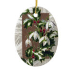 Snowdrops and Holly Vintage Christmas Christmas Tree Ornaments
