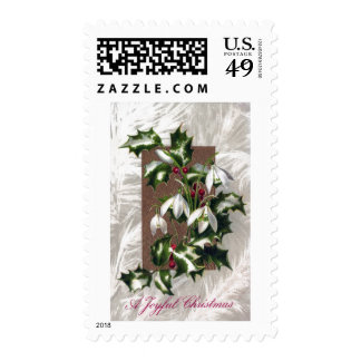 Snowdrops and Holly Vintage Christmas Stamp