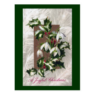 Snowdrops and Holly Vintage Christmas Post Cards