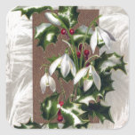 Snowdrops and Holly Vintage Christmas Square Stickers